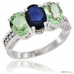 14K White Gold Natural Blue Sapphire & Green Amethyst Sides Ring 3-Stone 7x5 mm Oval Diamond Accent