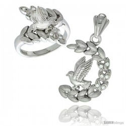 Sterling Silver Dove on Olive Branch Ring & Pendant Set CZ Stones Rhodium Finished