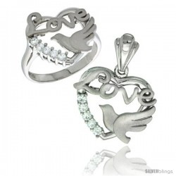 Sterling Silver LOVE w/ Dove Heart Ring & Pendant Set CZ Stones Rhodium Finished