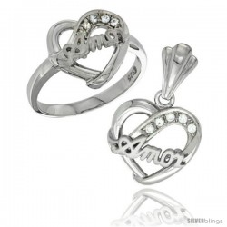 Sterling Silver AMOR Heart Ring & Pendant Set CZ Stones Rhodium Finished