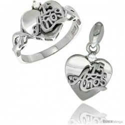 Sterling Silver Quinceanera 15 ANOS Heart Ring & Pendant Set CZ Stones Rhodium Finished -Style Rpzh113