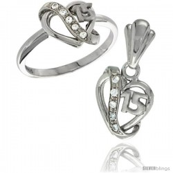 Sterling Silver Quinceanera 15 ANOS Heart Ring & Pendant Set CZ Stones Rhodium Finished -Style Rpzh114