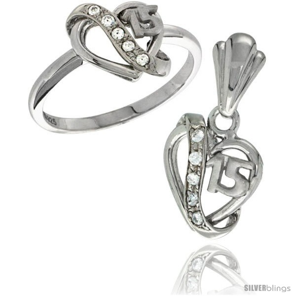 "Sterling Silver CZ Stones /""15/"" Heart Dolphin Ladies Ring"