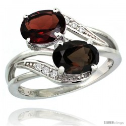 14k White Gold ( 8x6 mm ) Double Stone Engagement Smoky Topaz & Garnet Ring w/ 0.07 Carat Brilliant Cut Diamonds & 2.34 Carats