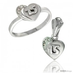 Sterling Silver Quinceanera 15 ANOS Heart Ring & Pendant Set CZ Stones Rhodium Finished -Style Rpzh115