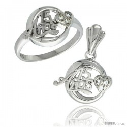 Sterling Silver Quinceanera 15 ANOS w/ Heart Ring & Pendant Set CZ Stones Rhodium Finished