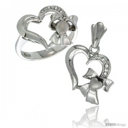 Sterling Silver Heart w/ Bow Heart Ring & Pendant Set CZ Stones Rhodium Finished