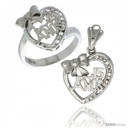 Sterling Silver Quinceanera 15 ANOS w/ Bow Heart Ring & Pendant Set CZ Stones Rhodium Finished