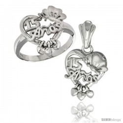 Sterling Silver Quinceanera 15 ANOS w/ Butterfly Triple Hearts Ring & Pendant Set, Rhodium Finished