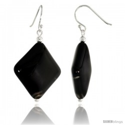 "Sterling Silver Diamond-shaped Dangle Earrings, w/ Beads & Black Obsidian, 1 5/8"" (41 mm) tall"