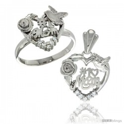 Sterling Silver No. 1 Mom Ring & Pendant Set CZ Stones Rhodium Finished