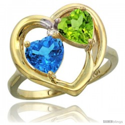 10k Yellow Gold 2-Stone Heart Ring 6mm Natural Swiss Blue & Peridot