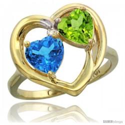 10k Yellow Gold 2-Stone Heart Ring 6mm Natural Swiss Blue & Peridot