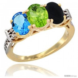 10K Yellow Gold Natural Swiss Blue Topaz, Peridot & Black Onyx Ring 3-Stone Oval 7x5 mm Diamond Accent