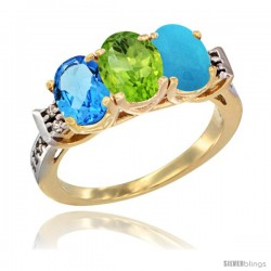 10K Yellow Gold Natural Swiss Blue Topaz, Peridot & Turquoise Ring 3-Stone Oval 7x5 mm Diamond Accent