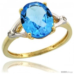 10k Yellow Gold Diamond Swiss Blue Topaz Ring 2.4 ct Oval Stone 10x8 mm, 3/8 in wide