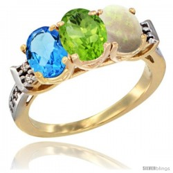 10K Yellow Gold Natural Swiss Blue Topaz, Peridot & Opal Ring 3-Stone Oval 7x5 mm Diamond Accent