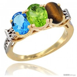10K Yellow Gold Natural Swiss Blue Topaz, Peridot & Tiger Eye Ring 3-Stone Oval 7x5 mm Diamond Accent