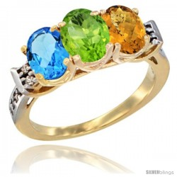 10K Yellow Gold Natural Swiss Blue Topaz, Peridot & Whisky Quartz Ring 3-Stone Oval 7x5 mm Diamond Accent