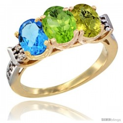 10K Yellow Gold Natural Swiss Blue Topaz, Peridot & Lemon Quartz Ring 3-Stone Oval 7x5 mm Diamond Accent