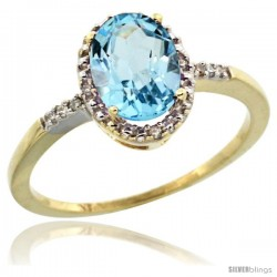10k Yellow Gold Diamond Swiss Blue Topaz Ring 1.17 ct Oval Stone 8x6 mm, 3/8 in wide