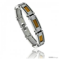 Stainless Steel Men's Cable Bracelet Gold Finish, 8 1/2 in