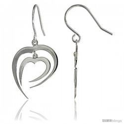 "High Polished Fancy Hearts Dangle Earrings in Sterling Silver, 13/16"" (21 mm) tall"