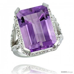 Sterling Silver Diamond Amethyst Ring 14.96 ct Emerald Shape 18x13 Stone 13/16 in wide