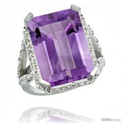 Sterling Silver Diamond Amethyst Ring 14.96 ct Emerald Shape 18x13 Stone 13/16 in wide