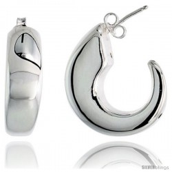 "High Polished Hollow Half-Hoop Earrings in Sterling Silver, 1 1/8"" (29 mm) tall"