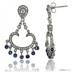 Sterling Silver Arc Dangle Chandelier Earrings w/ Brilliant Cut Clear & Blue Sapphire Color CZ Stones, 1 3/8 in. (34 mm) tall
