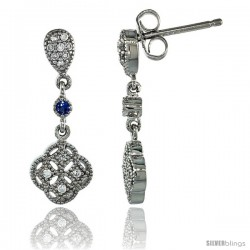 Sterling Silver Clover Flower Dangle Earrings w/ Brilliant Cut Clear & Blue Sapphire Color CZ Stones, 7/8 in. (22 mm) tall