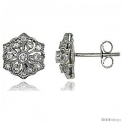 Sterling Silver Flower Stud Earrings w/ Brilliant Cut CZ Stones, 3/8 in. (10 mm)