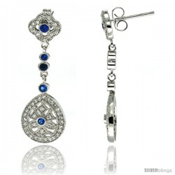 Sterling Silver Clover Flower & Teardrop Dangle Earrings w/ Brilliant Cut Clear & Blue Sapphire Color CZ Stones, 1 3/8 in