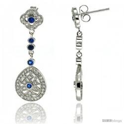 Sterling Silver Clover Flower & Teardrop Dangle Earrings w/ Brilliant Cut Clear & Blue Sapphire Color CZ Stones, 1 3/8 in