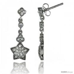 Sterling Silver Star Dangle Earrings w/ Brilliant Cut CZ Stones, 1 in. (26 mm) tall