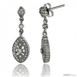 Sterling Silver Marquise Shape Dangle Earrings w/ Brilliant Cut CZ Stones, 1 1/16 in. (26 mm) tall