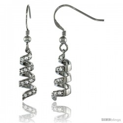 Sterling Silver Spiral Dangle Earrings w/ Brilliant Cut CZ Stones, 1 5/16 in. (33 mm) tall