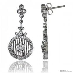 Sterling Silver Floral Dangle Earrings w/ Brilliant Cut CZ Stones, 1 3/16 in. (30 mm) tall