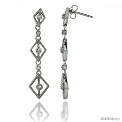 Sterling Silver Diamond Shape Cut Outs Journey Dangle Earrings w/ Brilliant Cut CZ Stones, 1 11/16 in. (43 mm) tall