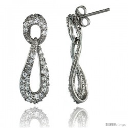 Sterling Silver Oval Drop Cut Out Dangle Earrings w/ Brilliant Cut CZ Stones, 1 1/8 in. (28 mm) tall