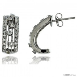 Sterling Silver Half-Hoop Earrings w/ Brilliant Cut CZ Stones, 3/4 in. (19 mm) tall
