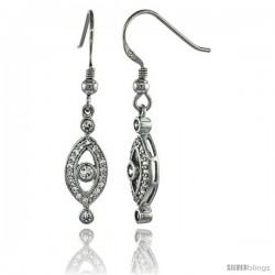 Sterling Silver Marquise Shape Cut Out Dangle Earrings w/ Brilliant Cut CZ Stones, 1 1/2 in. (38 mm) tall