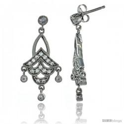 Sterling Silver Dangle Chandelier Earrings w/ Brilliant Cut CZ Stones, 1 3/16 in. (31 mm) tall