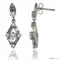 Sterling Silver Diamond Cut Out Dangle Earrings w/ Baguette & Brilliant Cut CZ Stones, 1 1/16 in. (27 mm) tall