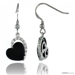 Sterling Silver Black Enameled Heart Dangle Earrings w/ Brilliant Cut CZ Stones, 1 1/4 in. (32 mm) tall