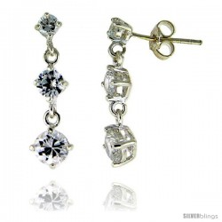 Sterling Silver / Cubic Zirconia Dangle Earrings -Style Erd345