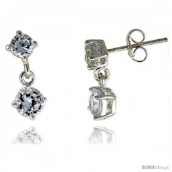 Sterling Silver / Cubic Zirconia Dangle Earrings -Style Erd45