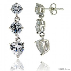 Sterling Silver / Cubic Zirconia Dangle Earrings -Style Erd45h7