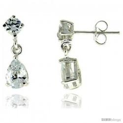 Sterling Silver / Cubic Zirconia Dangle Earrings -Style Erd4p57